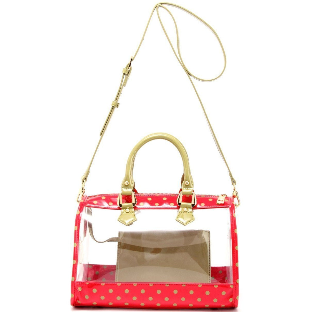 SCORE! Moniqua Large Designer Clear Crossbody Satchel-Red and Green