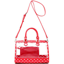 SCORE! Moniqua Large Designer Clear Crossbody Satchel - Racing Red and White