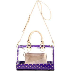 SCORE! Moniqua Large Designer Clear Crossbody Satchel - Royal Purple and Metallic Gold