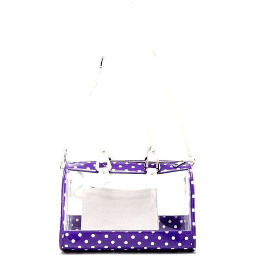 SCORE! Moniqua Large Designer Clear Crossbody Satchel - Royal Purple and White