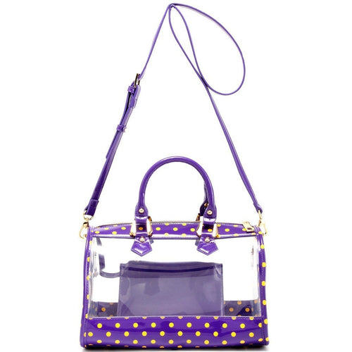 Moniqua Clear Satchel - Royal Purple and  Yellow Gold