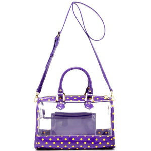 SCORE! Moniqua Large Designer Clear Crossbody Satchel - Royal Purple and  Yellow Gold