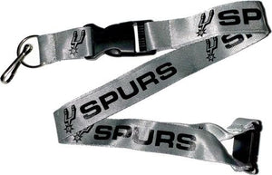 San Antonio SPURS Officially NBA Licensed Black and Silver Logo Team Lanyard