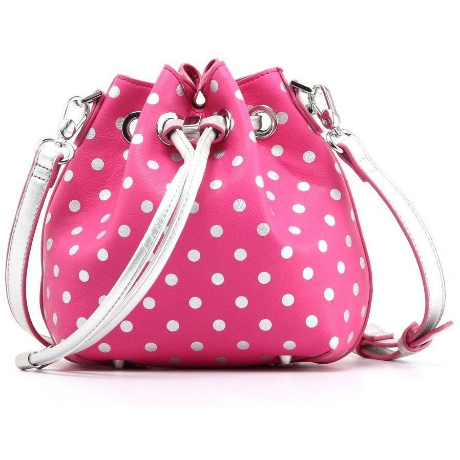 SCORE! Sarah Jean Small Crossbody Polka dot BoHo Bucket Bag - Pink and Silver  Phi Mu sorority sisters or for Breast Cancer Awareness Support
