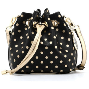 SCORE! Sarah Jean Designer Small Stadium Shoulder Crossbody Purse Polka Dot Boho Bucket Game Day Bag Tote - Black and Gold Gold