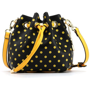 SCORE! Sarah Jean Designer Small Stadium Shoulder Crossbody Purse Polka Dot Boho Bucket Game Day Bag Tote - Black and Gold Yellow