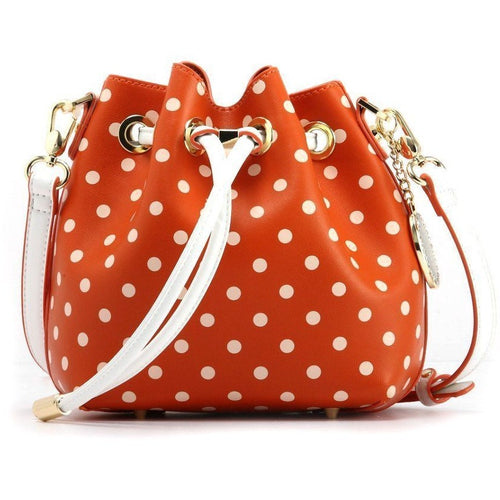 SCORE! Sarah Jean Small Crossbody Polka dot BoHo Bucket Bag- Burnt Orange Sienna and White University of Texas Austin UT Longhorns, Denver Broncos, Chicago Bears, Miami Dolphins, University of Tennessee Knoxville Volunteers, Sam Houston State University Bearkats, Syracuse University Orange, Bowling Green Falcons, Princeton University TIgers, NFL Cincinnati Bengals, Cleveland Browns, MLB Baltimore Orioles, Maimi Marlins, San Francisco Giants, NHL Anaheim Ducks, Philadelphia Flyers, Houston Dynamo