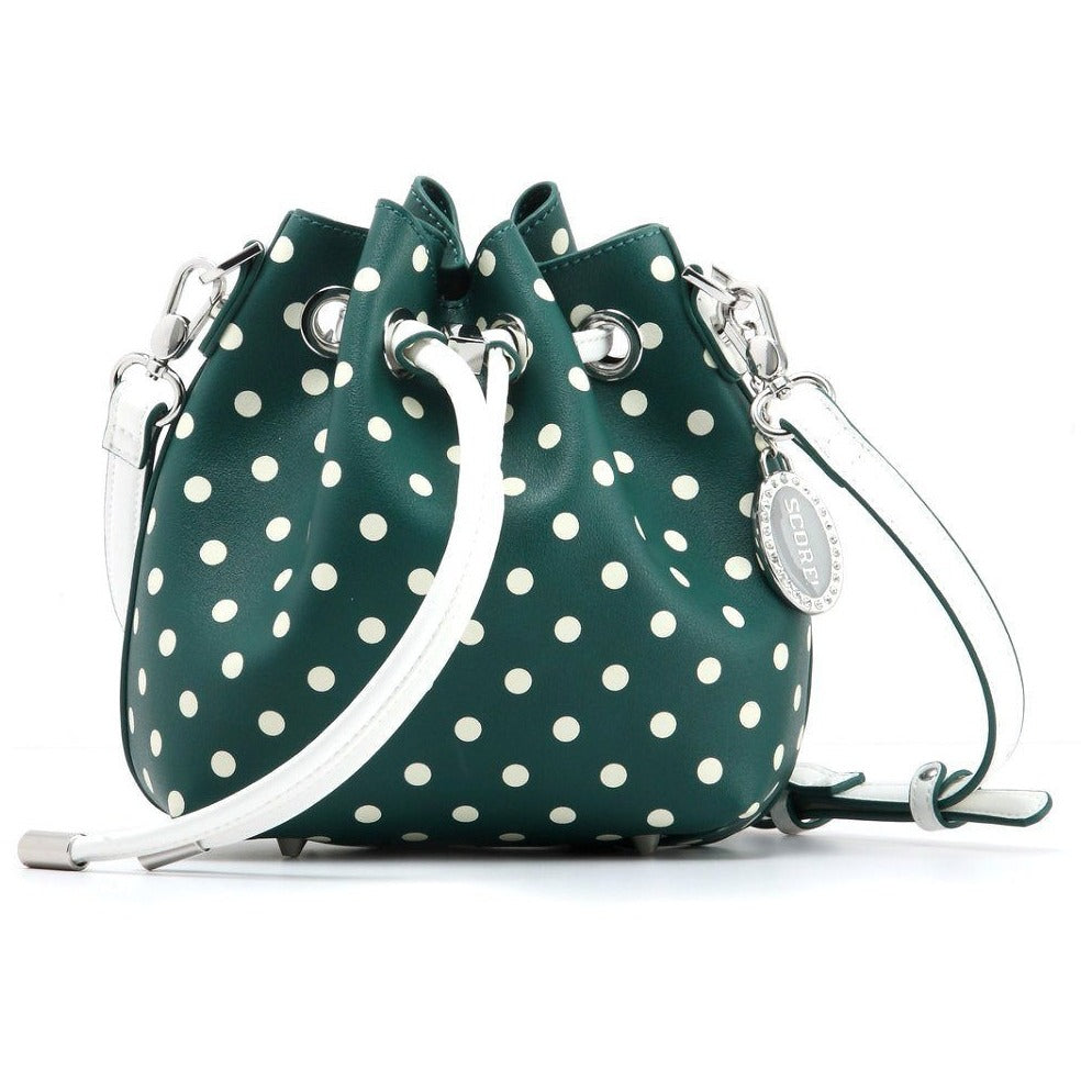 SCORE! Sarah Jean Designer Small Stadium Shoulder Crossbody Purse Polka Dot Boho Bucket Game Day Bag Tote - Green and White