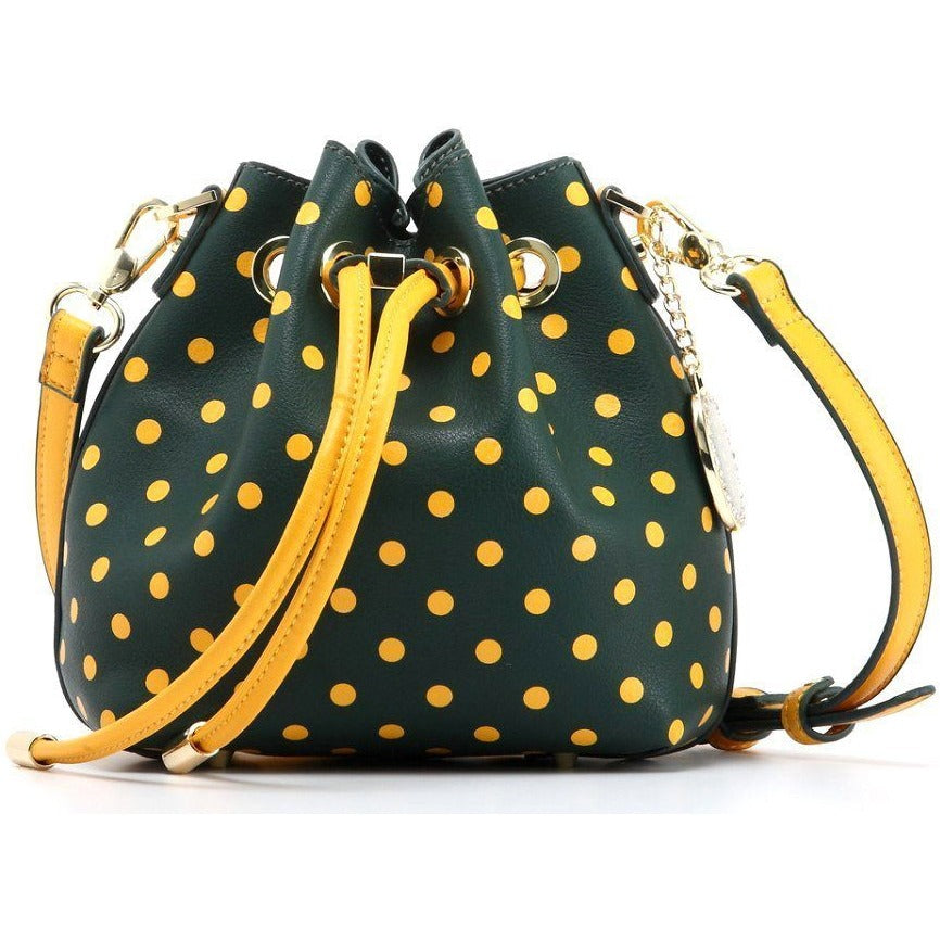 SCORE! Sarah Jean Small Crossbody Polka dot BoHo Bucket Bag - Green and Gold Baylor Bears, North Dakota State Bisons, College of William and Mary Tribe, Cal Poly Mustang, Siena Saints, North Dakota Bisons, Sacramento State Hornets, San Francisco Dons, Southeastern Louisiana Lions, NFL Green Bay Packers, MLB Oakland Athletics, MLS Portland Timber
