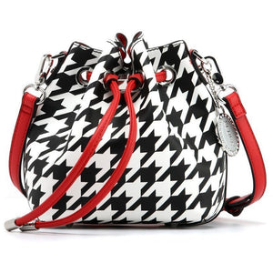 SCORE! Sarah Jean Designer Small Shoulder Crossbody Purse Boho Bucket Game Day Bag Tote - Houndstooth Black, White and Red