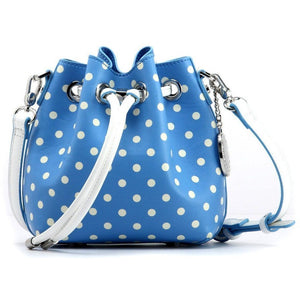 SCORE! Sarah Jean Designer Small Stadium Shoulder Crossbody Purse Polka Dot Boho Bucket Game Day Bag Tote - Light Blue and White