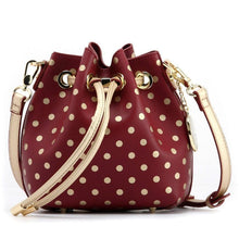 SCORE! Sarah Jean Small Crossbody Polka dot BoHo Bucket Bag - Maroon Crimson and Gold Theta Tau sorority sisters, or a sports bar with friends to watch Florida State University Seminoles, Arizona State University Sun Devils, Boston College Eagles, University of Minnesota Golden Gophers, Texas State University Bobcats, Denver Pioneers, Bethune-Cookman Wildcats, Iona Gaels, Elon Phoenix, Winthrop Eagles, Loyola Ramblers, NBA Cleveland Cavaliers, NFL's Washington Redskins
