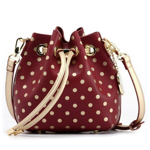 Sarah Jean Polka Dot Bucket Handbag - Maroon and Metallic Gold
