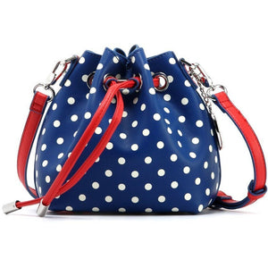 SCORE! Sarah Jean Small Crossbody Polka dot BoHo Bucket Bag- Red, White and Blue University of Southern Alabama, Liberty University, Shenandoah University, University of Richmond, Georgia State University, Southern Alabama Jaguars, Lowell River Hawks, Belmont Bruins, American University Eagles, Liberty Flames, Gonzaga Bulldogs, New York Giants, New England Patriots, Cleveland Indians, Philadelphia Phillies, Texas Rangers, Atlanta Braves,  New York City Red Bulls, New England Revolution