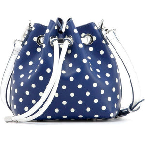 SCORE! Sarah Jean Small Crossbody Polka dot BoHo Bucket Bag - Navy and White Xavier Musketeers, Mount St. Mary's Mountaineers, Georgetown Hoyas, Butler Bulldogs, Liberty Flames, Georgia Southern Eagles, Howard Bison, North Florida Ospreys, Monmouth Hawks, BYU Cougars, Jackson State Tigers, Longwood Lancers, Nevada Wolfpack, Drake Bulldogs, UNC Greensboro Spartans, NFL Dallas Cowboys, NHL Blue Jackets, MLS LA Galaxy, MLB San Diego Padres, 
