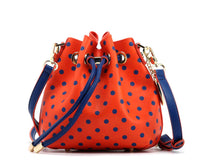 SCORE! Sarah Jean Small Crossbody Polka dot BoHo Bucket Bag - Orange and Blue