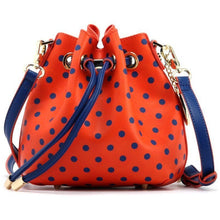 Sarah Jean Polka Dot Bucket Handbag - Orange and Navy Blue
