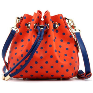 SCORE! Sarah Jean Designer Small Stadium Shoulder Crossbody Purse Polka Dot Boho Bucket Game Day Bag Tote - Orange and Blue