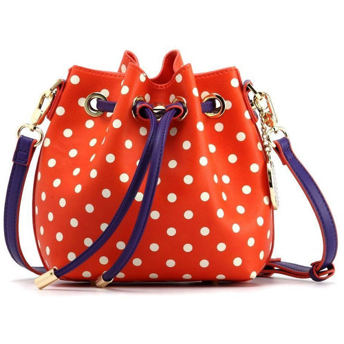 SCORE! Sarah Jean Small Crossbody Polka dot BoHo Bucket Bag - Orange, White and Purple Clemson Tigers or University of Evansville Illinois Purple Aces, Northwestern State Demons