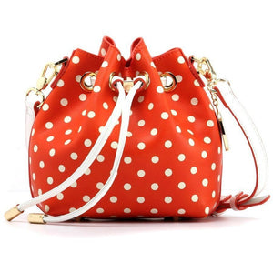 Sarah Jean Polka Dot Bucket Handbag - Bright Orange and White