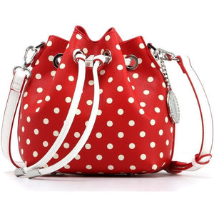 SCORE! Sarah Jean Designer Small Stadium Shoulder Crossbody Purse Polka Dot Boho Bucket Game Day Bag Tote - Red and White