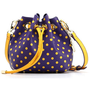 Sarah Jean Polka Dot Bucket Handbag - Royal Purple and  Yellow Gold