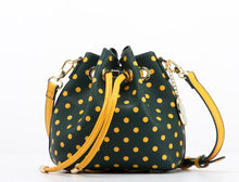 SCORE! Sarah Jean Designer Small Stadium Shoulder Crossbody Purse Polka Dot Boho Bucket Game Day Bag Tote - Green and Gold
