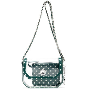 Chrissy Small Clear Game Day Handbag - Forest Green and White