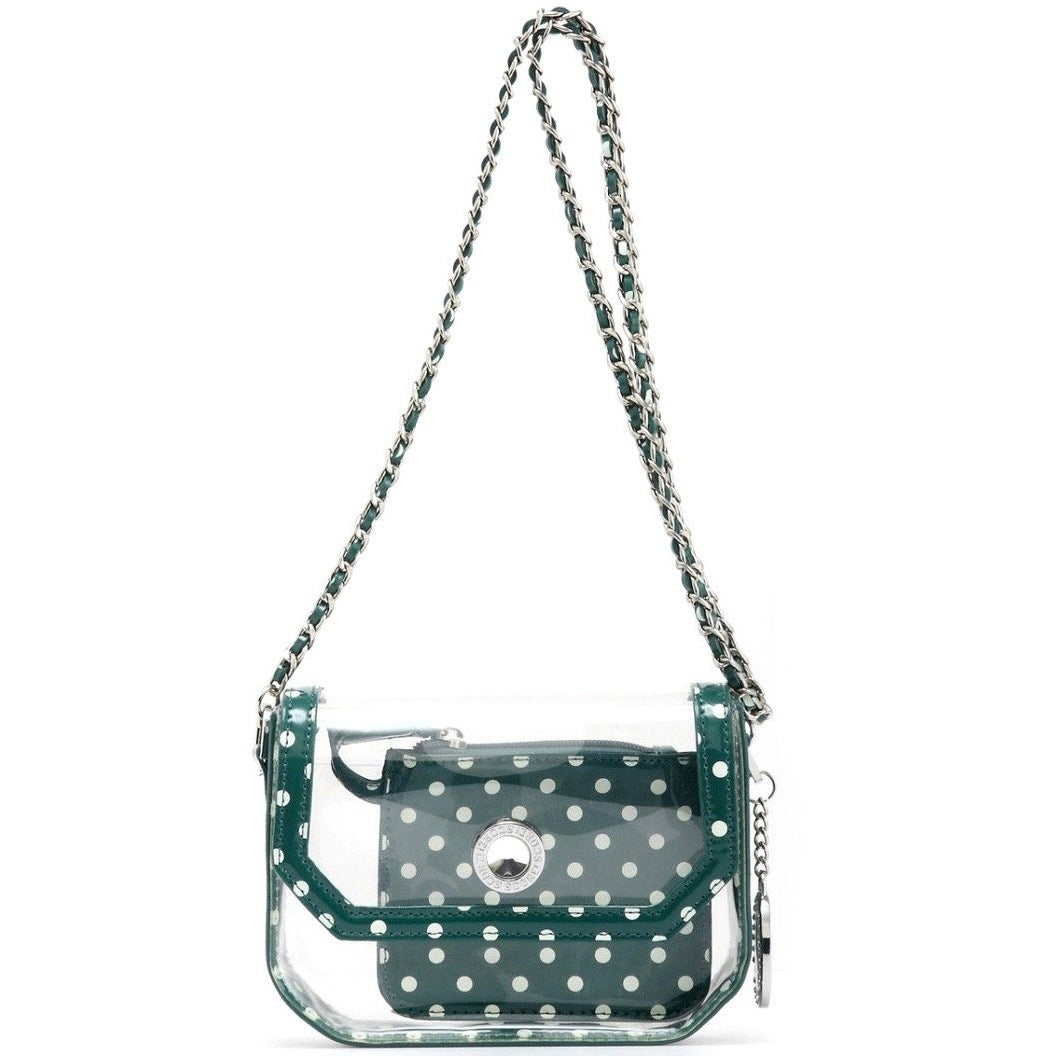 Chrissy Small Clear Stadium Compliant Crossbody Game Day Bag - Green and White