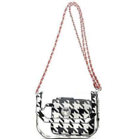 SCORE! Chrissy Small Designer Clear Crossbody Bag - Houndstooth and Red