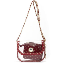 Chrissy Small Clear Game Day Handbag - Maroon and Metallic Gold