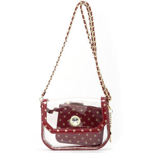 SCORE! Chrissy Small Designer Clear Crossbody Bag - Maroon and Gold