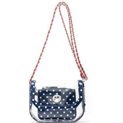 Chrissy Small Clear Game Day Handbag - Navy Blue, White and Racing Red