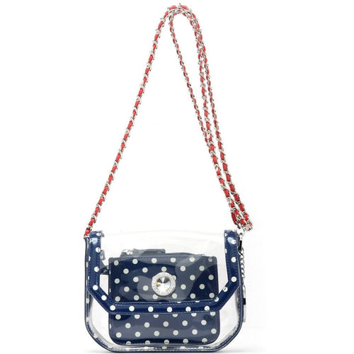 Chrissy Small Clear Crossbody Stadium Compliant Game Day Bag - Navy Blue, White and Red