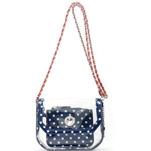 SCORE! Chrissy Small Designer Clear Crossbody Bag - Navy Blue, White and Red