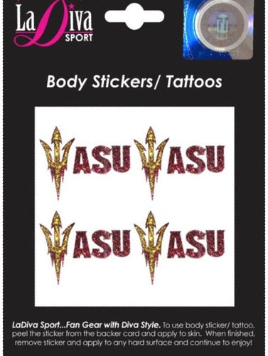 Arizona State University ASU Sun Devils Sparky Maroon and Gold~Body, Face and Purse Sticker Tattoos