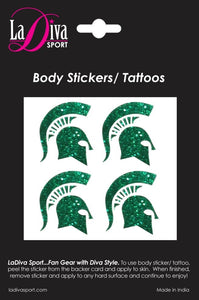 Michigan State University MSU Spartans Green and White Sparty Logo~Body, Face and Purse Sticker Tattoos