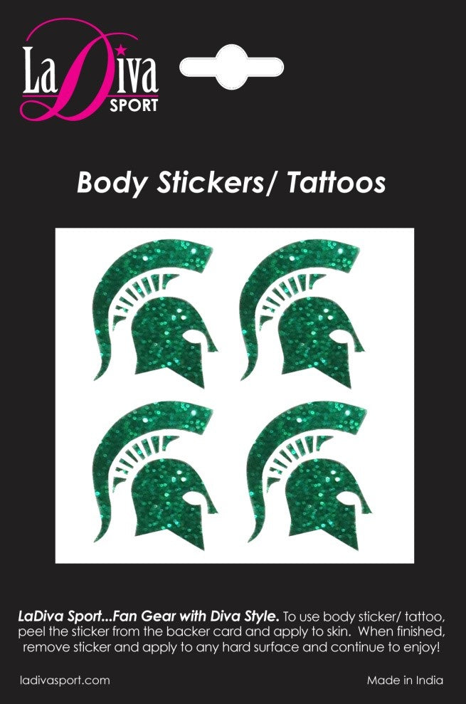 Body, Face and Purse Sticker Tattoos-Michigan State