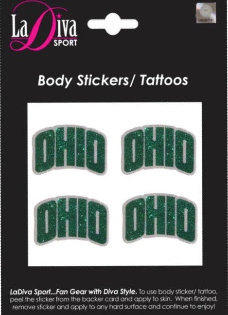 Ohio University OU Rufus Bobcats Green and White~Body, Face and Purse Sticker Tattoos