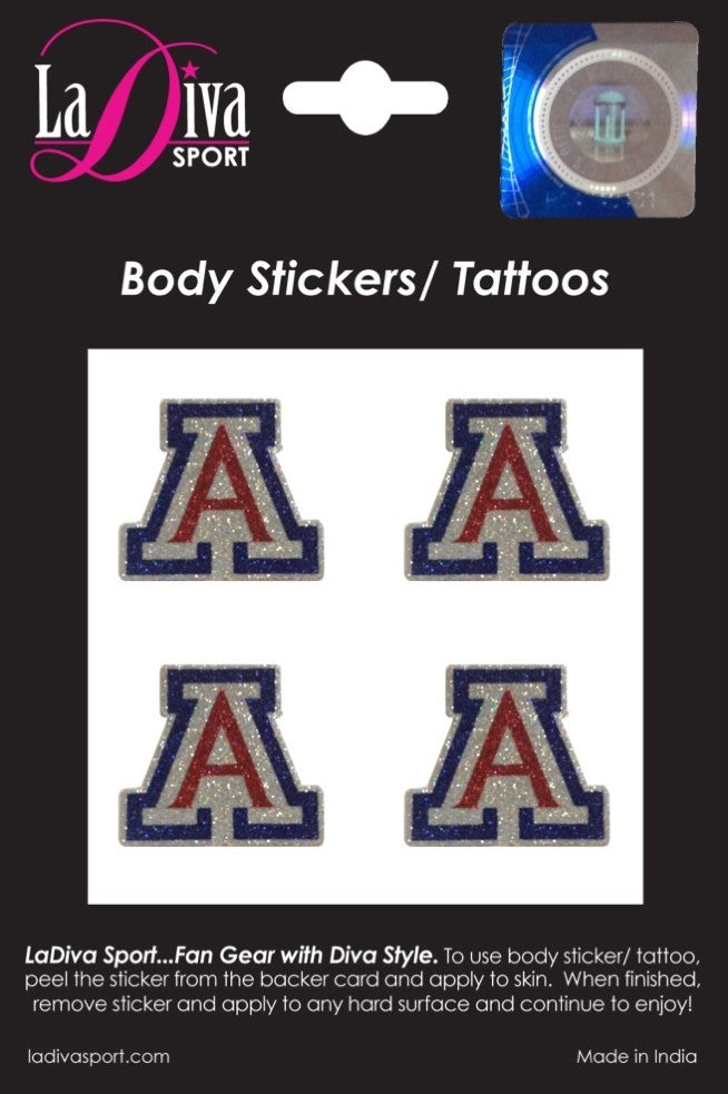 Body, Face and Purse Sticker Tattoos- University of Arizona UA Wildcat A Red and Blue Logo