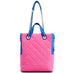 SCORE!'s Kat Travel Tote for Business, Work, or School Quilted Shoulder Bag - Pink and Blue