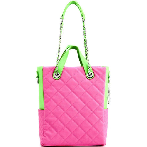 SCORE!'s Kat Travel Tote Multi-function Business Work College Teacher Computer Laptop Shoulder Cross-body Top Handles Quilted Bag - Pink and Lime Green AKA & DZ