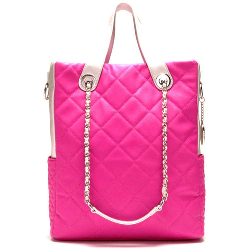 SCORE! Kat Travel Tote for Work & School ~ Designer Quilted Shoulder Bag - Pink & Silver