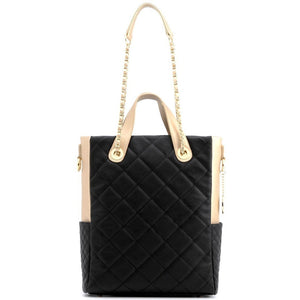 SCORE!'s Kat Travel Tote for Business, Work, or School Quilted Shoulder Bag - Black and Gold Gold