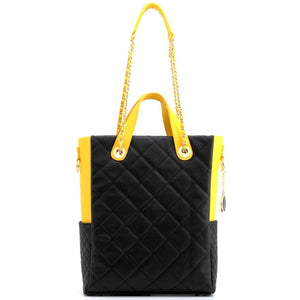 SCORE!'s Kat Travel Tote Multi-function Business Work College Teacher Computer Laptop Shoulder Cross-body Top Handles Quilted Bag - Black and Gold Yellow