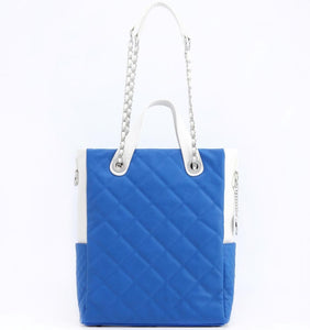 SCORE!'s Kat Travel Tote for Business, Work, or School Quilted Shoulder Bag - Imperial Royal Blue and White