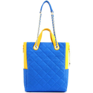 SCORE!'s Kat Travel Tote Multi-function Business Work College Teacher Computer Laptop Shoulder Cross-body Top Handles Quilted Bag - Imperial Royal Blue and Yellow Gold