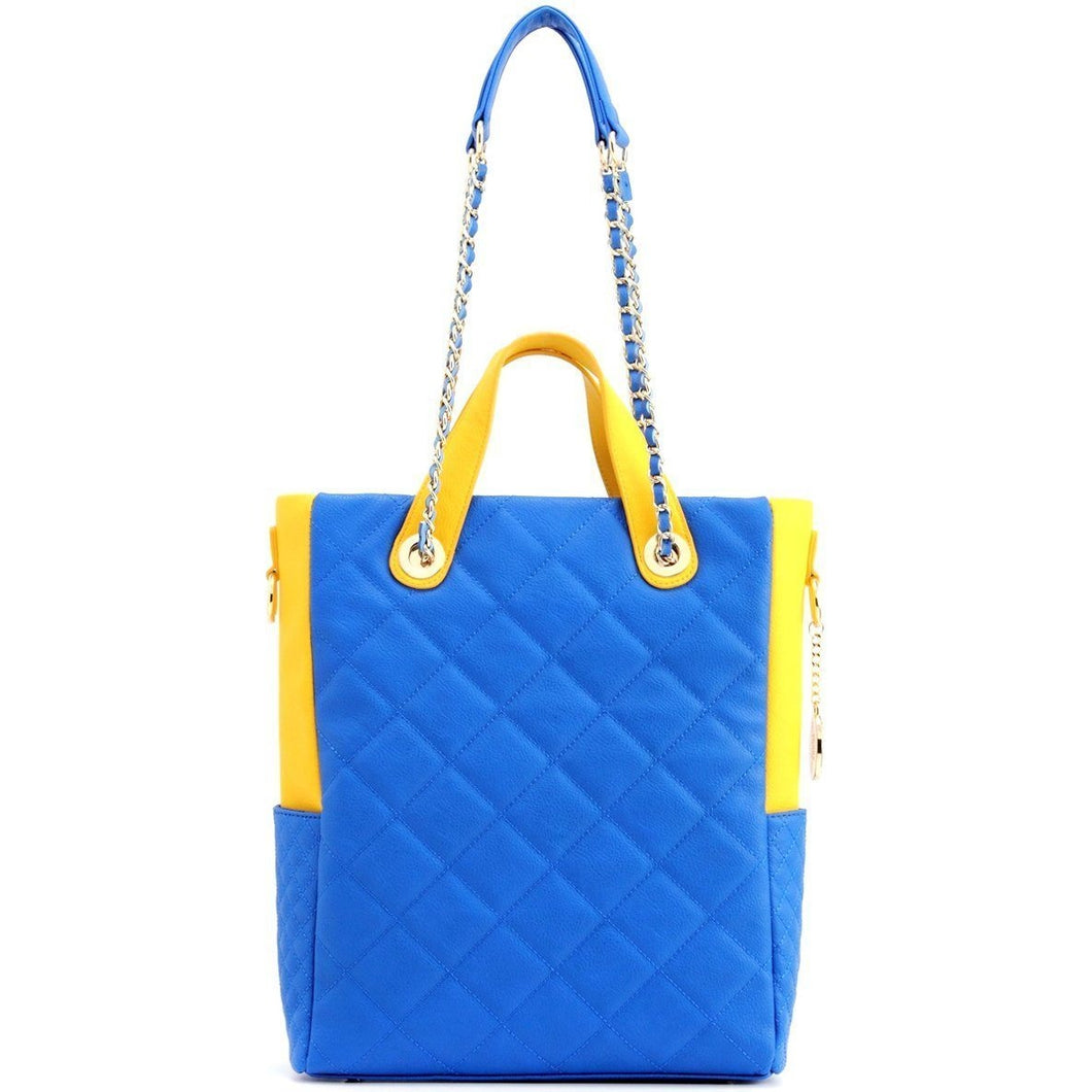 Kat Travel Tote - Imperial blue and Yellow Gold