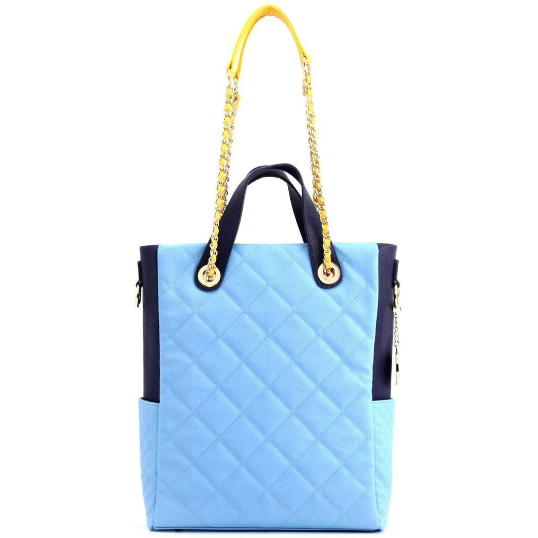 SCORE!'s Kat Travel Tote for Business, Work, or School Quilted Shoulder Bag - Light Blue, Navy Blue and Yellow Gold