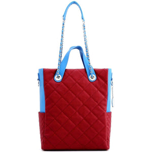 SCORE!'s Kat Travel Tote for Business, Work, or School Quilted Shoulder Bag - Maroon and Blue